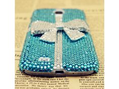 Lovely Blue Crystal + Bow Samsung Galaxy S4 Case