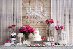 Valentine's Day Wedding Love is in the air! This gorgeous Valentine's Day wedding shoot designed by LMG Events and Chudleigh Weddings along with Pink Dessert Tables, Pink Desserts, Wedding Desserts, Dessert Buffet, Dessert Bars, Grey Wedding Decor, Pink Grey Wedding, Wedding Decorations, Decoration Buffet