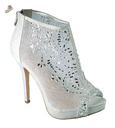 fb785d8be85 Marna-85 Crystal Embellished High Heel Peep-Toe Prom Dress Bootie Pump Shoes  Silver 10 - De blossom collection pumps for women ( Amazon Partner-Link)