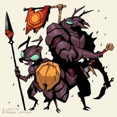 ArtStation - Bug World - Worldbuilding through character design, Studio Fantasy Character Design, Character Design Inspiration, Character Concept, Character Art, Mythical Creatures Art, Weird Creatures, Fantasy Creatures, Creature Concept Art, Creature Design