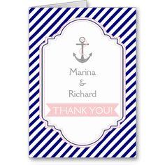 Navy blue, pink nautical wedding Thank You Cards
