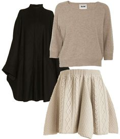 DVF Cape and Rodarte Cable Knit Skirt