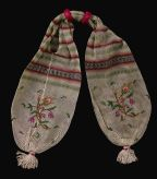 Cream Stocking Purse with Multicolor Embroidery