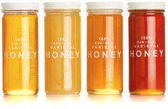 Quattro varietal honey set: Design by Bee Raw Honey Company Fake Honey, Honey Love, Best Honey, Honey Packaging, Pretty Packaging, Simple Packaging, Cosmetic Packaging, Product Packaging, Cinnamon Ice Cream