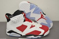 sports shoes 37c33 9d92a AIR JORDAN RETRO 6 MENS 384664-160 WHITE CARMINE BLACK Size 9.5 Ships same  day!