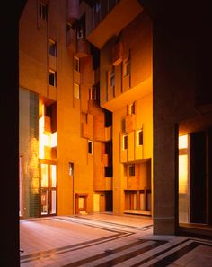 Walden 7 is an urban and mixed-use development on the site of a former concrete factory. Three gigantic structures were originally planned, in the sha. Ricardo Bofill, Wooden Building Blocks, Mixed Use Development, School Architecture, Barcelona Spain, Hostel, Entrance, Exterior, 1975