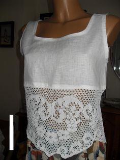 Tор ropa de encaje blanco tejido a mano crochet.size por Lalerosso