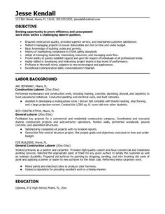 resumes for excavators construction resume