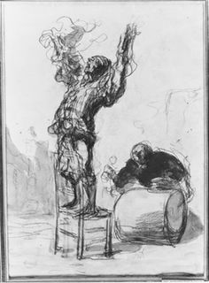 honore daumier - clown playing a drum. drawing.
