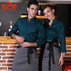 "Képtalálat a következőre: ""cool restaurant uniform ideas"" Cafe Uniform, Waiter Uniform, Hotel Uniform, Staff Uniforms, Work Uniforms, Kellner Uniform, Waitress Outfit, American Uniform, Apron Designs"