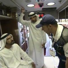 1/29/14 1/2 HH Sheikh Mohammed bin Rashid Al Maktoum accompained by HH Sheikh Hamdan Bin Mohammed Almaktoum at the Dubai World Trade Center (DWTC), sees the world's first smart ambulance, a fully equipped ambulance vehicle, recently joined Dubai Ambulance. the AED 1.5 million's ambulance vehicle that is equipped with solar power generator, special cooling system, GPS and hydraulic system. The custom designed vehicle provide bigger cabin that can facilitate four passengers plus the patient.