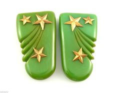 Vintage 1930s Hand Carved BAKELITE & Brass SHOOTING STARS Design DRESS CLIPS