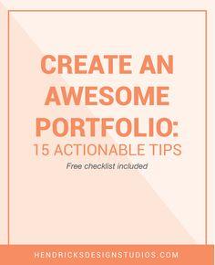 Your portfolio pieces are created what's next? Now it is time to create the portfolio. Click through to read tips on how to Create an Awesome Portfolio plus a free portfolio worksheet