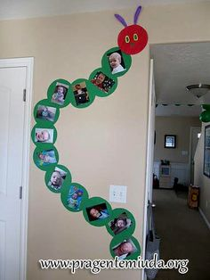 Very Hungry Caterpillar Party. Caterpillar wall decoration, with photos of the birthday boy or girl on the body. Great for a themed party. First Birthday Parties, First Birthdays, Birthday Ideas, 2nd Birthday, Birthday Wall, Birthday Photos, Preschool Crafts, Crafts For Kids, Preschool Family