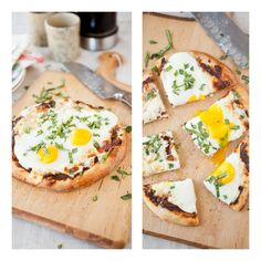 Breakfast pizza topped with sun dried tomato and walnut pesto, cheese, and eggs!