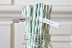 Paper Straws 25 Striped Mint Light Green Retro Vintage Style Carnival Kids Wedding Birthday Bridal Baby Shower W/ Printable Flags I created
