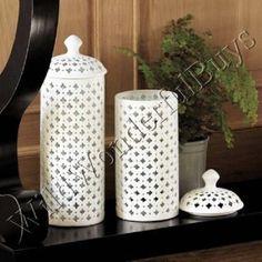 Fretwork Cutout GINGER JAR Glossy White Porcelain Elysee Circular Sphere NEW #FrenchCountry