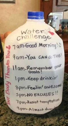 Water  Challenge - Great idea to keep track of and ensure you Drink enough water. Do you know you should drink 1/2 your body weight in water so if you weight 140lbs you should be drinking 70oz of water.