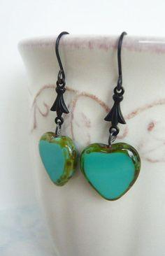 Blue Heart Dangle Earrings Anniversary Tiffany Blue
