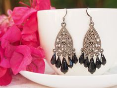 Gunmetal grey teardrop chandelier earrings with black swarovski drops; dark grey teardrop filigree earrings; gunmetal boho chic earrings by GNatCreations on Etsy