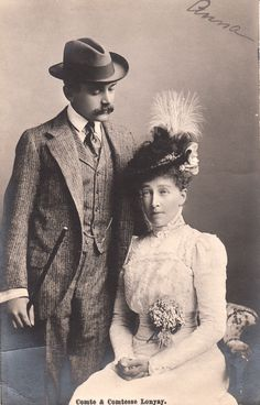 Comte and Comtesse Lonyay. She was born Princess Stephanie Clotilde of Belgium. In 1881 at age 16 Stephanie was married to Crown Prince Rudolph of Austria. It was not a happy marriage and ended with Rudolph's and his girlfriend's murder suicide. But Stephanie was a survivor. She married again, Count Lonyay of Hungary, who adored her. Stephanie and her count had no children together but lived to know the four children of her daughter Archduchess Elizabeth Marie,