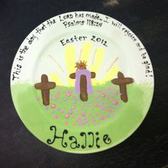 Easter pottery using child's handprint as sun rise