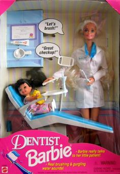 Amazon.com: Barbie - Dentist Barbie Doll & Kelly Patient w Real Sounds (1997): Toys & Games