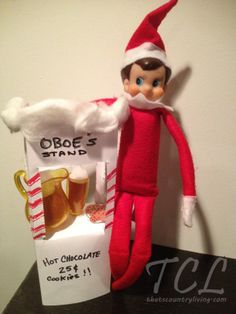 Creative Elf on the Shelf ideas.  Hot Cocoa Stand. Maybe even have a warm mug of cocoa ready and waiting for your little one.