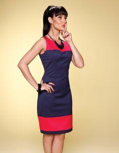 Vestido bicolor Pimenta/Marinho - Richini