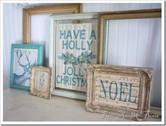 love the empty frames & the colors & the NOEL and the reindeer....