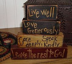 Primitive Signs -Love This One. Diy Projects To Try, Crafts To Make, Wood Projects, Diy Crafts, Fall Crafts, Primitive Signs, Primitive Crafts, Primitive Country, Wood Block Crafts