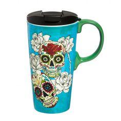Day of the Dead Ceramic Travel Coffee Mug, 17 ounces