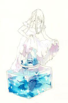 The blue water a r t ♡ anime art, anime y illustration art Art Anime Fille, Anime Art Girl, Anime Girls, Inspiration Art, Art Inspo, Pretty Art, Cute Art, Bel Art, Desu Desu