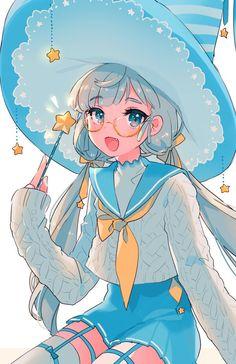 ♥ Anime + My Art ♥ - Anime girl - Wattpad Manga Anime, Chibi Anime, Manga Girl, Pretty Anime Girl, Beautiful Anime Girl, Kawaii Anime Girl, Anime Girls, Anime Blue Hair, Otaku