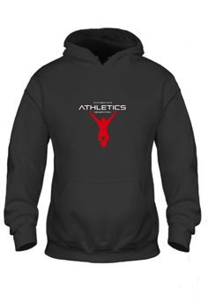 Black Hoodie White Text Red Logo