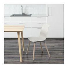 IKEA - LEIFARNE, Stol, Du sitter bekvämt tack vare den rogivande svikten i den skålade sitsen och den formade ryggen.De självjusterande plastfötterna ger stolen ökad stabilitet.En speciell yta på sitsen hindrar dig från att glida.Stolsbenen är gjorda av massivt trä som är ett slitstarkt naturmaterial.