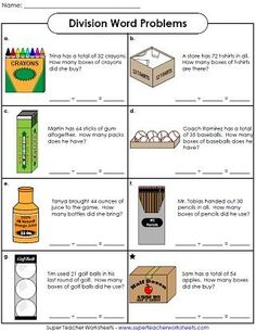 Math worksheet for basic division practice. Basic division word problems for elementary students. Use the pictures and the written descriptions to solve these basic division word problems.
