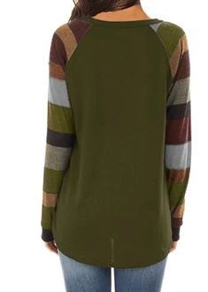 Women's Casual Long Sleeve Round Neck Green Loose Tunic T Shirt With P – Sampeel Long Sleeve Tops, Long Sleeve Shirts, Plus Size Summer Tops, Strapless Tops, Loose Tops, Loose Fit, Casual Tops, Casual Styles, Spandex