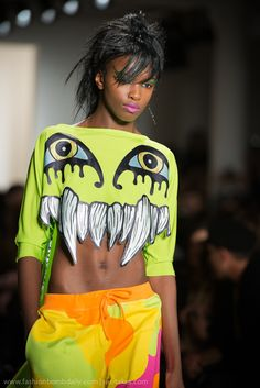 """I'm sure this seemed like a neat idea the first time I saw it.  In the Eighties.  """"Neon"""" doesn't make it """"fresh.""""  [Jeremy Scott Fall 2013 www.fashion.net -  - #neon - ☮k☮]"""