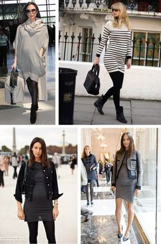 winter pregnancy style- dress jacket and leggings