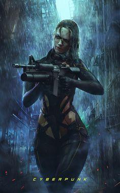 Cyberpunk Girl with gun (by Soufiane Idrassi - concept artist ) What Is Cyberpunk, Cyberpunk Rpg, Cyberpunk Girl, Cyberpunk Character, Wallpapers En Hd, Vaporwave Art, Sci Fi Characters, Science Fiction Art, Cosplay