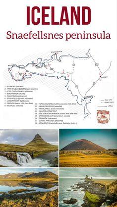 Pin Map Snaefellsnes peninsula Iceland Travel Guide