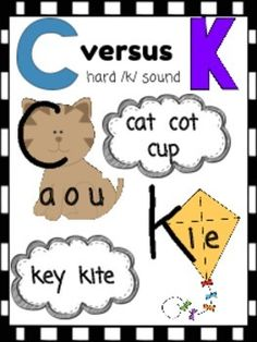 C versus K poster to remind students when to use C or K. Based on the Orton Gillingham program.