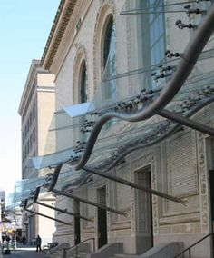 Brooklyn Academy of Music Canopy. Overhead glazing is in tension to hold up the steel frame
