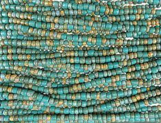Tucson Turquoise Opaque Aged Picasso Mix Czech Glass 4mm Tile Beads and 6/0 Czech Glass Seed Beads - 20 Inch Strand (AW291) by beadsandbabble on Etsy