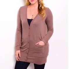"FINAL PRICE | Mauve Long Cardigan - Plus Size A long cardigan sweater that adds warmth on a cool day. Side pockets and large buttons add versatility. First picture is true to color. | Items are new and unused without tags.  1XL: bust: 42""   waist: 42""   hip: 41""  2XL: bust: 44""   waist: 44""   hip: 43""  3XL: bust: 46""   waist: 46""   hip: 45"" Sweaters Cardigans"