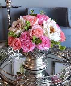 Your place to buy and sell all things handmade Faux Flower Arrangements, Rose Centerpieces, Artificial, Blush Roses, Faux Flowers, Amazing Flowers, Greenery, My Etsy Shop, Pink
