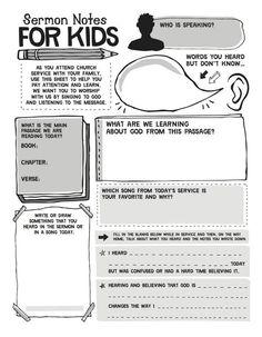 Helping kids take notes during sermon