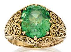 Demantoid garnet ring by Louis comfort Tiffany