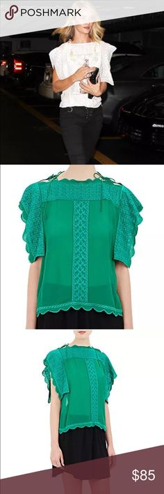 NWT ISABEL MARANT GREEN AUDRINA BLOUSE Amazingly beautiful brand new Isabel Marant blouse in the AUDRINA style in jade green. As seen in Rosie Huntington-Whiteley in white! Size 40, which is equal to a medium. Please see the size chart on Isabel Marant .com for specific sizing information, know your size Isabel Marant Tops Blouses